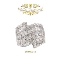 Cincin Berlian Wanita Cincin Emas Putih Cincin Tunangan DR000018
