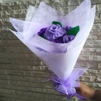 bouquet bunga mawar flanel tangkai buket wisuda ulang tahun aniversary