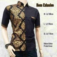 Jual kemeja batik pria hitam prada emas | BATIK PEKALONGAN Murah