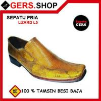 Sepatu Kulit Biawak Lizard L5 Tan handmade pria Formal Kantor Kerja Pe