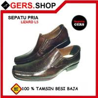 Sepatu Kulit Biawak L5 Brown handmade pria Formal Kantor Kerja Pesta p
