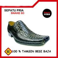 Sepatu Kulit Ular asli Snake G3 handmade pria Formal Kantor Kerja Pest