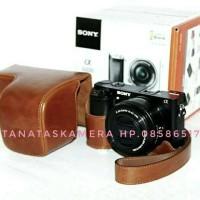 Leather Case Bag Tas Kamera Kulit For Sony A6000 / A6300 Brown Coklat