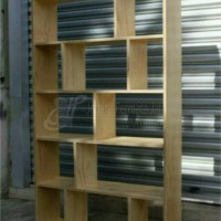 Rak buku hias minimalis kayu jati ( furniture, almari, display )