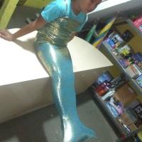 Baju Mermaid Anak Sisik Emas + Bando Mahkota Led cantik
