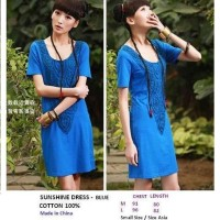 SUNSHINE DRESS - BLUE. COTTON 100%. Made in China