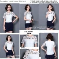 26916 White Mesh Blouse + Pants / Setelan Blouse Putih Celana Biru