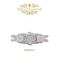 Cincin Berlian Wanita Cincin Emas Putih Cincin Tunangan DR000932