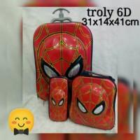 Jual Tas Trolly Anak Muka Spiderman 6D 3in1 Murah