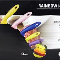 Oxone Set Rainbow Knife ox-606, Pisau Serbaguna Warna Warni Stainless