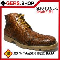 Sepatu Gers Kulit Ular asli Snake B1 Handmade Pria Formal Kerja Kantor