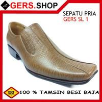 Sepatu Kulit Gers SL1 Handmade Pria Formal Kantor Kerja Pesta Pantofel