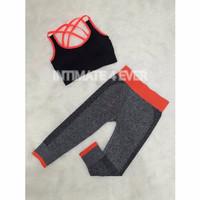 Set JJ Bra Celana Sport Gym Fitness Running Senam Wanita