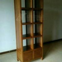 rak buku minimalis dua muka kayu jati ( furniture, lemari, rak )