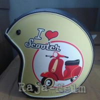 Jual Helm Retro Bens Semi Kulit Doff I Love Scooter Cream Red SNI Murah