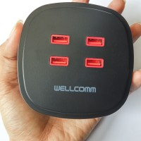 Jual Wellcomm Travel Charger 4 USB port - Output 4.2 A max. Murah