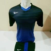 Setelan Futsal, Kostum Tim, Jersy Bola, Nike, Hitam Garis Biru