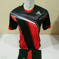 Setelan Futsal, Kostum Tim, Jersy Bola, Adidas, Hitam Kombinasi Merah
