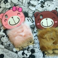 Oppo F1 A35 Silicon 3D Rabbit Fur Bear Flurry Softcase Casing Hp