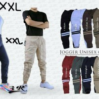 Celana Panjang Jogger Stripe XXL 3R Joger Strip Pria Wanita Jumbo Big