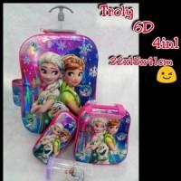Jual Tas Troli Frozen Pink Biru 6D 4in1 / Tas Trolley Anak Frozen Murah