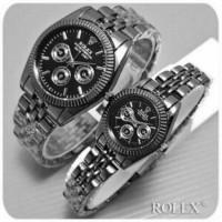 LARIS BANGET jam tangan couple rolex chrono jtr 222 full black