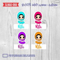 sticker label nama anak kartun cewek hijab lucu cute SLNAG-066