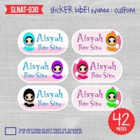 sticker label nama anak kartun cewek hijab lucu cute SLNAT-030