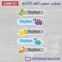 sticker label nama anak laki-laki dinosaurus dino lucu cute SLNAM-037