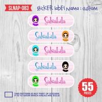 sticker label nama anak kartun cewek hijab cute girl lucu SLNAP-083