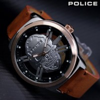 Jam Tangan Police Tengkorak PL 009 Analog Tali Kulit Murah