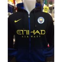 Jaket Hoodie Klub Bola H-731 Manchester City Logo Baru Gradasi Biru