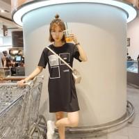 Loose Mini Dress Tumblr Hitam, Putih Show Me Love Import Murah casual