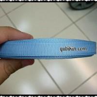 Pita Garis/ Salur/ Grossgrain 1cm Biru Tosca