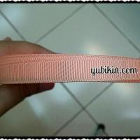1 Meter Pita Garis/ Salur/ Grossgrain 1cm Orange Muda