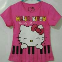 kaos anak karakter hello kitty piano pink size 1-6T katun