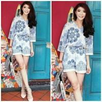 Jual celana jumpsuit pendek cute flower etnik simply way summer Murah