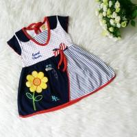 Dress Bayi Bunga Pita Navy Baju Bayi Perempuan Cantik Lucu