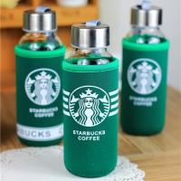 Botol Starbucks Eksklusif - Kaca + Sarung Pelindung HIJAU
