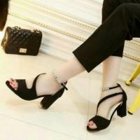 sepatu sendal cewe wanita hak hitam tp/sepatu kerja/sepatu sekolah