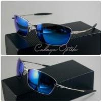 frame kacamata oakley polarised Whisker Squared silver blue