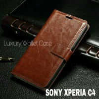 Luxury Wallet Case For Sony Xperia C4 / Flip Cover Leather Case