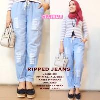 harga Ripped Jeans Pants Light Blue - Celana Murah - Bawahan Wanita Tokopedia.com