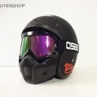 Helm Bogo JPN Jap Style Retro Black Doff Red Vespa + Goggles Mask