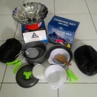 Jual Paket Hemat Kompor Mawar Windproof dan Nesting Cooking Set 2 Person Murah