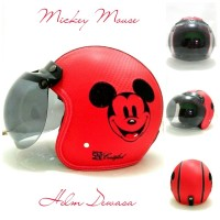 Helm Bogo Retro Kulit Klasik SNI Bordir Motif Mickey Mouse