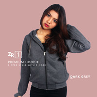 Zipper Hoodie Cewek Premium Fleece Dark Grey