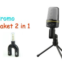 Smooth Microphone 3.5 Jack With Holder & Splitter Audio