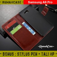 Samsung A9 Pro - Flip Cover Wallet Case Casing Dompet Kulit Magnet