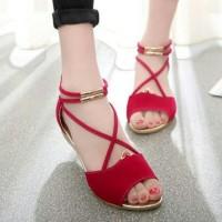harga Flat Shoes Merah Tali Silang, Sepatu Sandal Pesta Kerja Santai Wanita Tokopedia.com